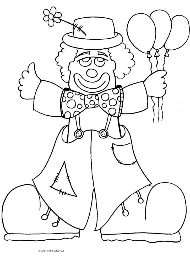 disegno da colorare sul carnevale il pagliaccio disegni