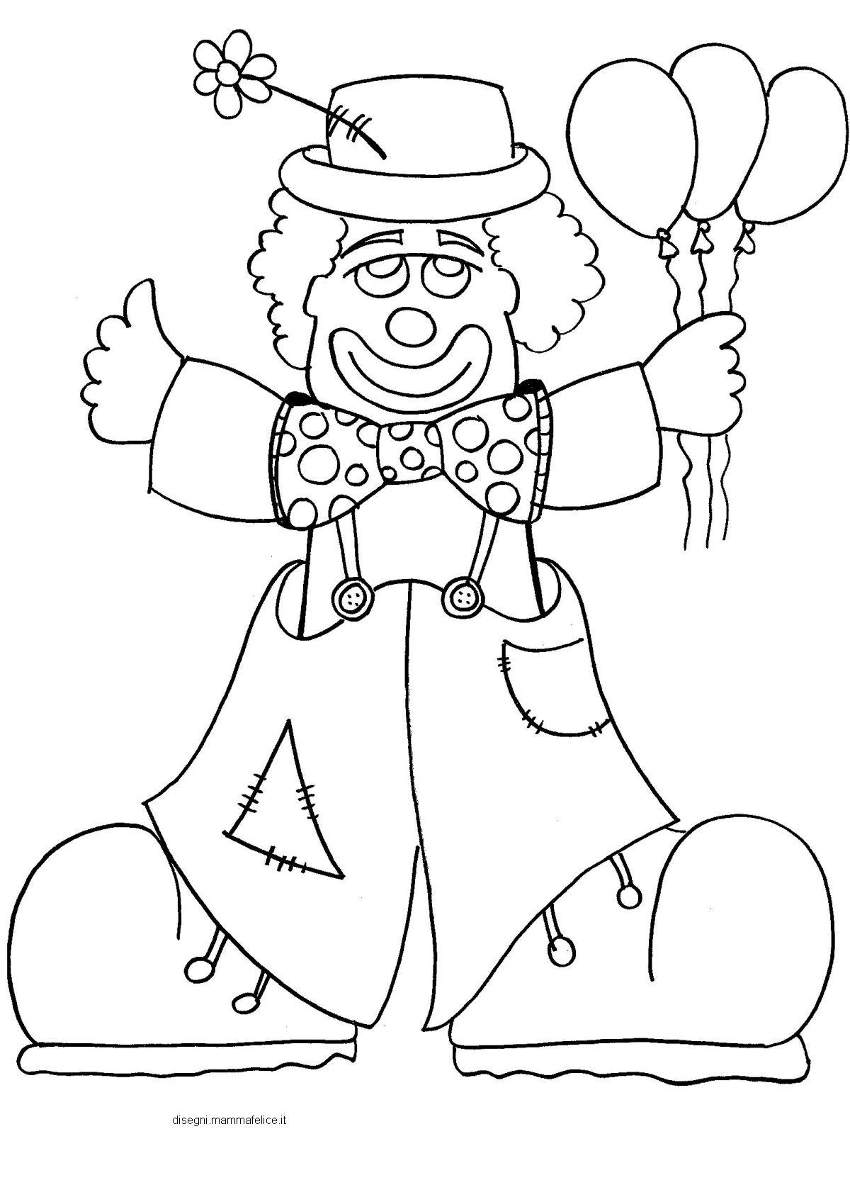 Disegno da colorare sul carnevale il pagliaccio disegni for Pagliaccio da disegnare