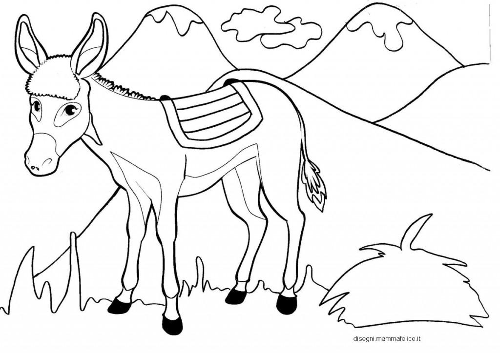 Disegni per bambini da colorare l 39 asinello e le montagne for Disegni paesaggi da colorare