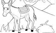 Disegni per bambini da colorare: l'asinello e le montagne