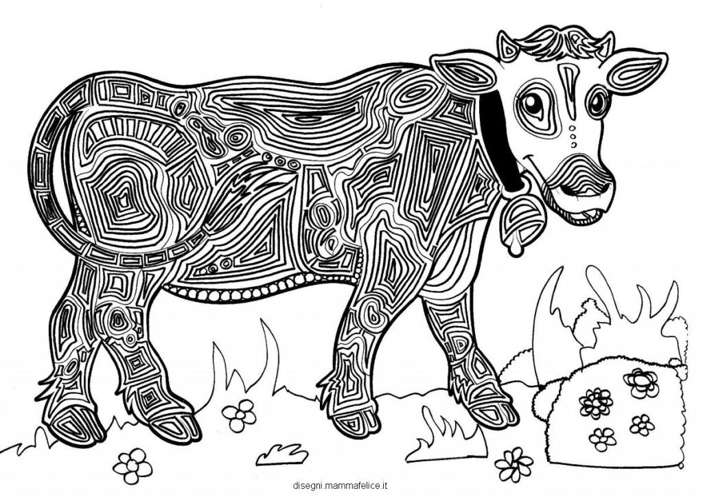 Mandala da colorare per bambini la mucca disegni for Disegni di mandala semplici