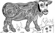 Mandala da colorare per bambini: la mucca